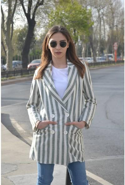 Her Mod'a Bir Moda Çizgili Keten Ceket