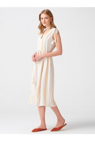 Dilvin 9012 Omuz Bağcıklı Uzun Elbise - Hardal