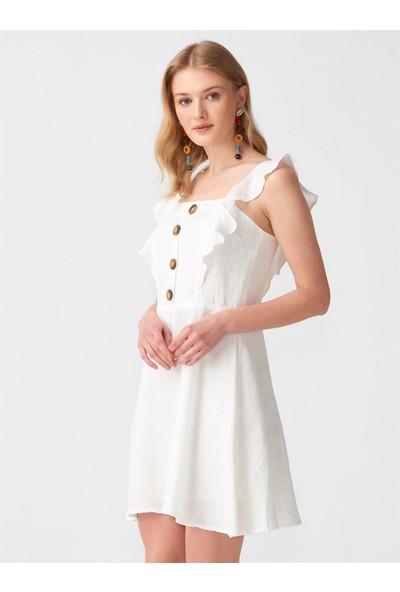 Dilvin 9007 Fırfır Askılı Elbise - Ekru