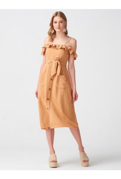 Dilvin 9996 Yaka Fırfırlı Düşük Kol Elbise - Açık Camel