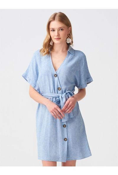 Dilvin 9997 Kruvaze Kuşaklı Elbise - Mavi