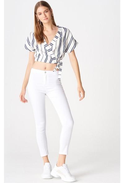 Dilvin 7790 Yüksek Bel Full Likra Pantolon - Beyaz