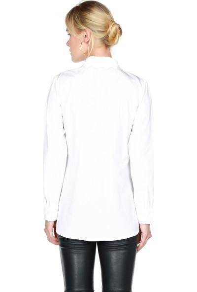 Miss Lusi 7370440 Önü Yüz Nakışlı Uzun Kol Gömlek