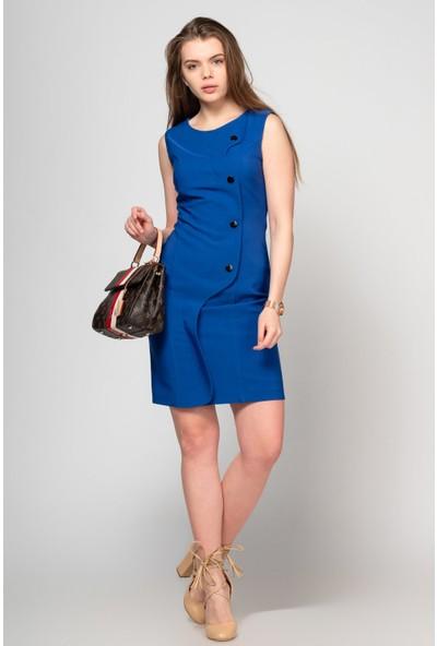 Fashion Light Saks Düğmeli Kolsuz Elbise FL0027