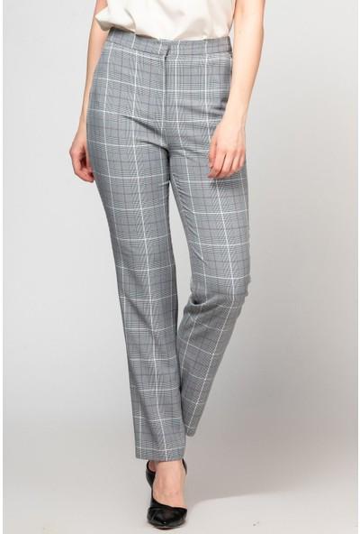 Fashion Light Gri Ekoseli Pantolon FL0028