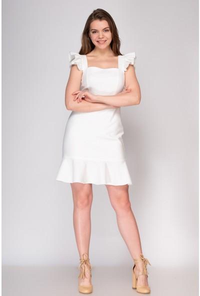 Fashion Light Ekru Volanlı Elbise FL0029