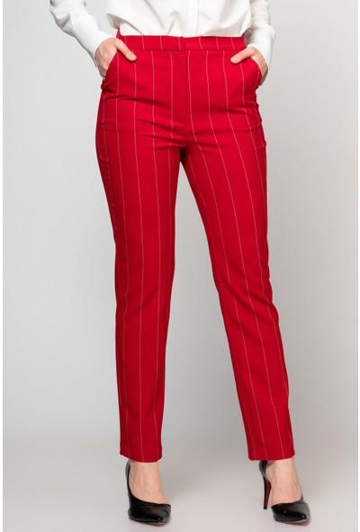Fashion Light Bordo Boru Paça Çizgili Pantolon SPR0107