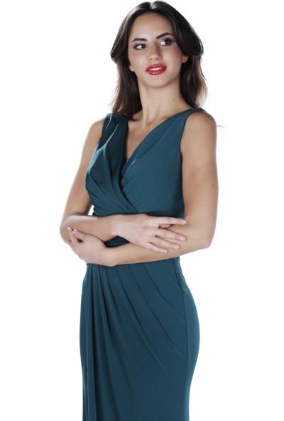 Carmen Yeşil Sandy Yırtmaçlı Uzun Abiye Elbise