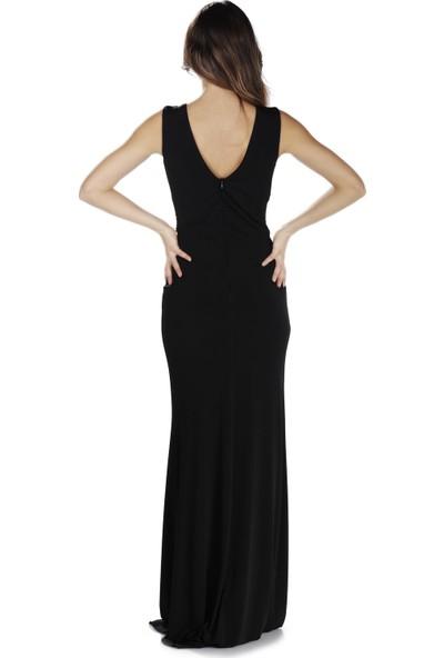 Pierre Cardin Siyah Sandy Yırtmaçlı Uzun Abiye Elbise