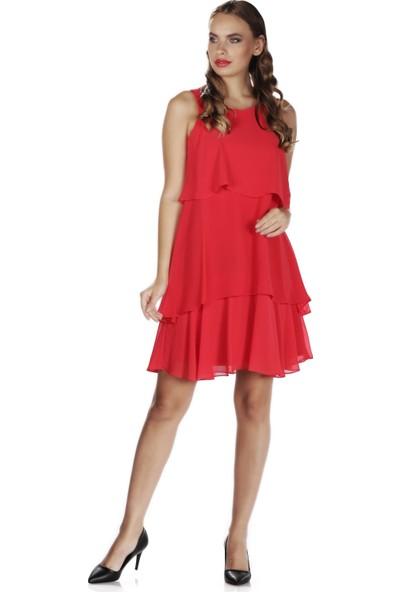 6Ixty8Ight Kırmızı Şifon Kısa Abiye Elbise