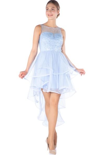 6Ixty8Ight Mavi Payetli Arkası Uzun Abiye Elbise