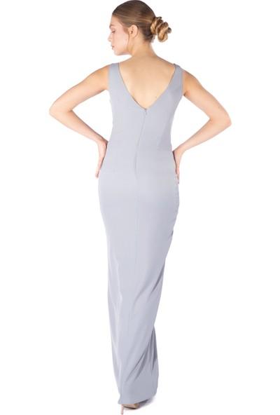 6Ixty8Ight Gri Krep Kruvaze Uzun Abiye Elbise