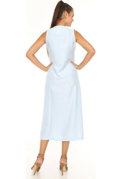 Her Mod'A Bir Moda Kolsuz Önü Düğme Detaylı Elbise