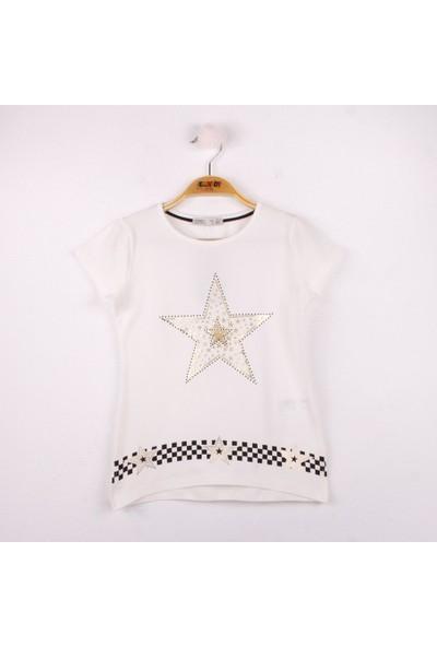 Toontoy Kız Çocuk T-Shirt Yıldız Baskı Ekru 5 Yaş K-139