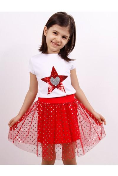 Toontoy Kız Çocuk Simli Etekli Takım Pullu Kalp Nakışlı Beyaz 6 Yaş K-194