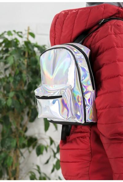 Erbilden Fede Gümüş Hologram Sırt Çantası
