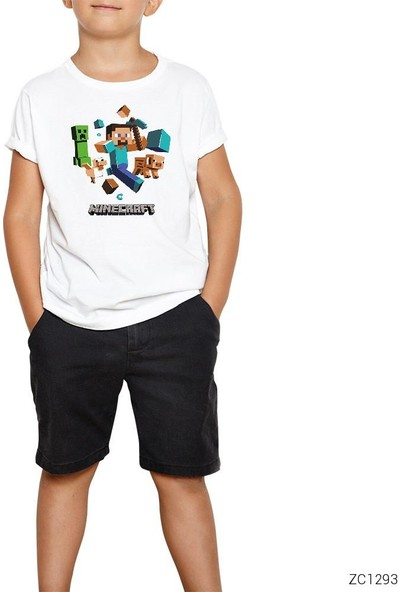 Zepplin Giyim Mine Craft Elements Çocuk T-Shirt