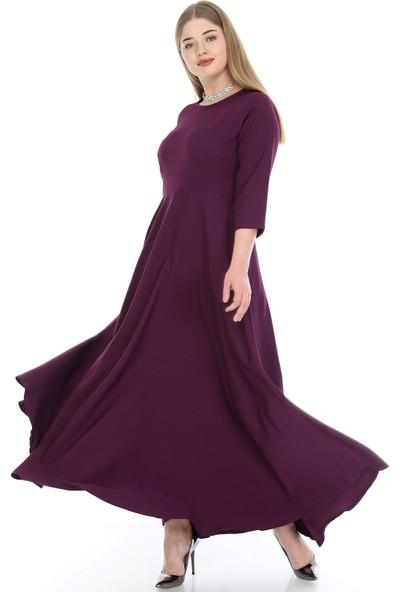 Angelino Butik Kadın Büyük Beden Tesettür Kibar Uzun Elbise KL795 Mor