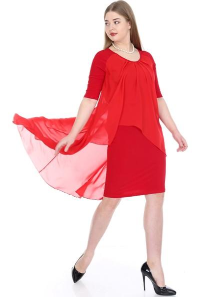 Angelino Butik Kadın Büyük Beden Şifon Midi Elbise KL7052 Kırmızı