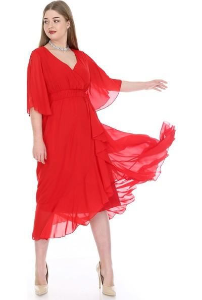 Angelino Butik Kadın Büyük Beden Şifon Uzun Elbise KL8020kı Kırmızı
