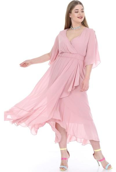 Angelino Butik Kadın Büyük Beden Şifon Uzun Elbise KL8020pu Pudra