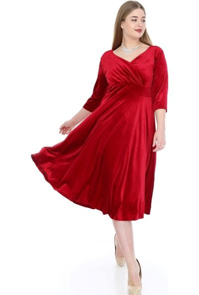 Angelino Butik Kadın Büyük Beden Kadife Esnek Elbise KL8003ka Kırmızı