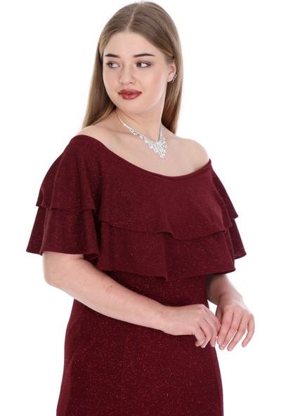 Angelino Butik Kadın Büyük Beden Uzun Simli Esnek Abiye Elbise PNR4521 Bordo