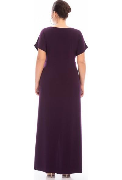 Angelino Butik Kadın Büyük Beden Yırtmaçlı Abiye Elbise KL8888 Mor