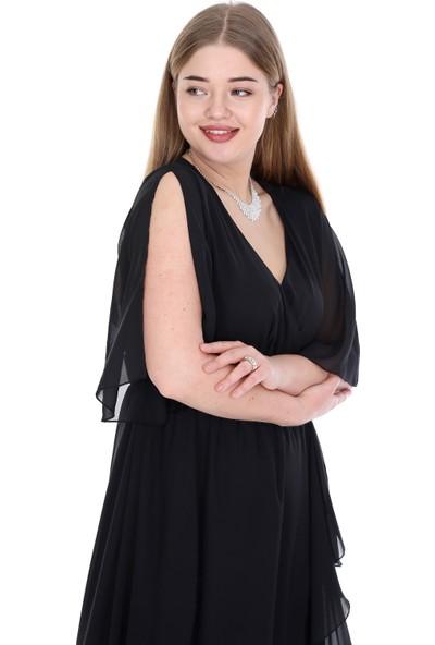 Angelino Butik Kadın Büyük Beden Şifon Uzun Elbise KL8020si Siyah