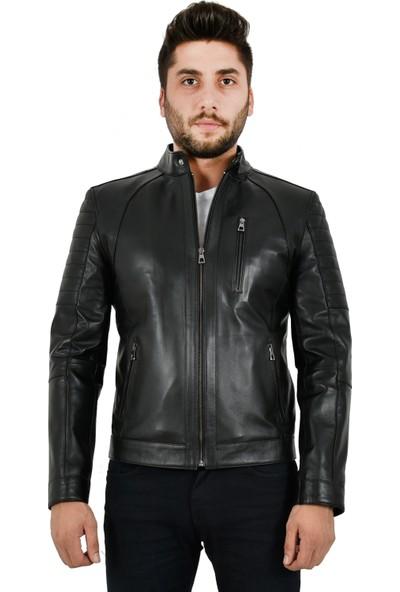 İkbal İkb-9 Erkek Siyah Hakiki Deri Mont Ceket