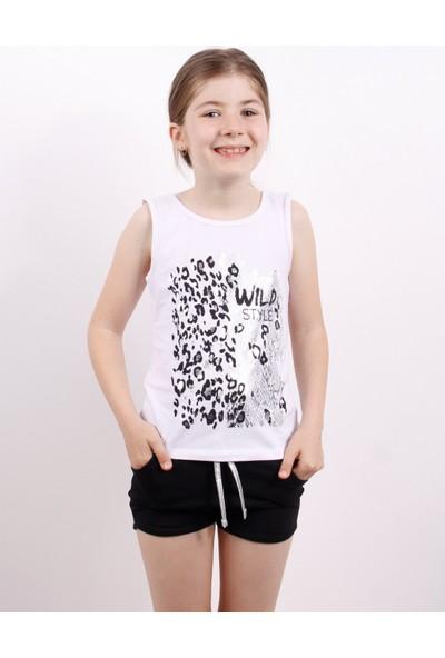 Toontoy Kız Çocuk Wild Baskılı Şortlu Takım Beyaz 5 Yaş K-209