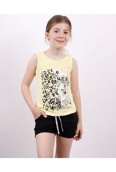 Toontoy Kız Çocuk Wild Baskılı Şortlu Takım Sarı 5 Yaş K-209
