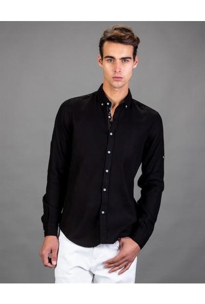 Tudors Slim Fit Denim Siyah Erkek Gömlek