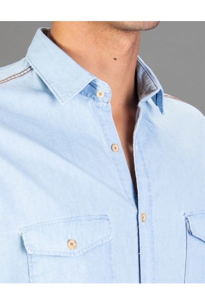 Tudors Slim Fit Açık Mavi Denim Erkek Gömlek
