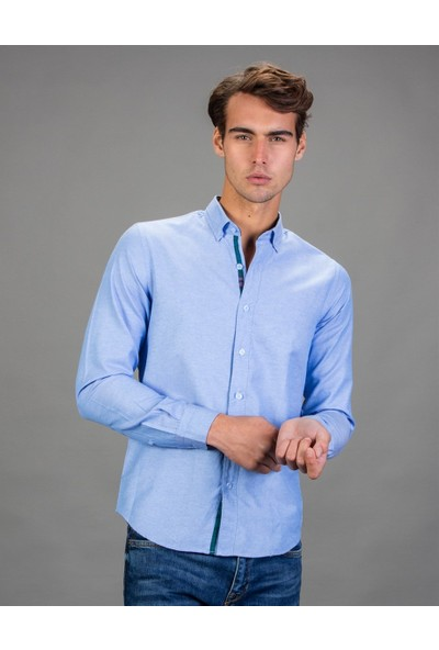 Tudors Slim Fit Düz Mavi Spor Erkek Gömlek