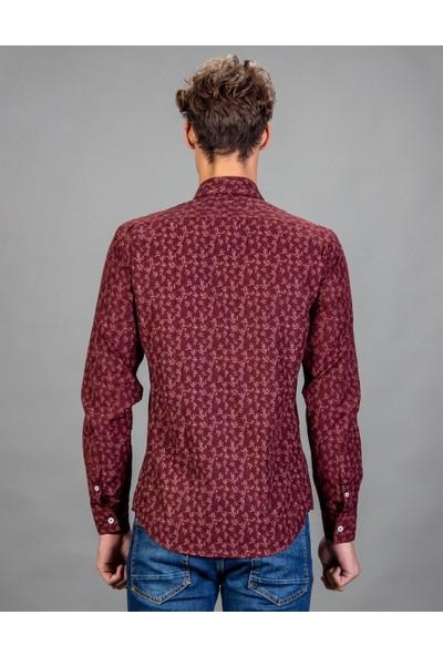 Tudors Slim Fit Baskılı Bordo Erkek Gömlek