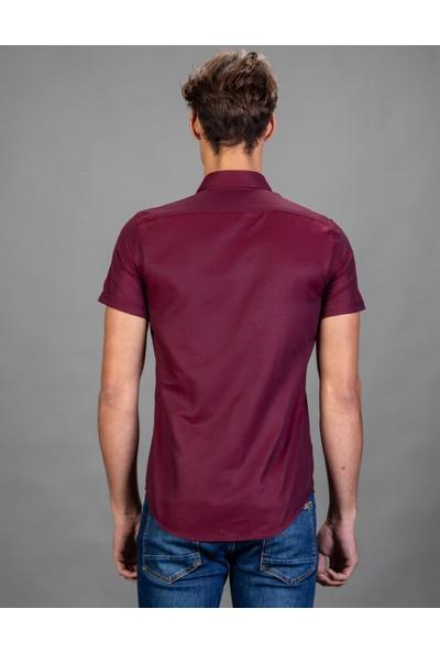 Tudors Slim Fit Kısa Kol Bordo Erkek Gömlek