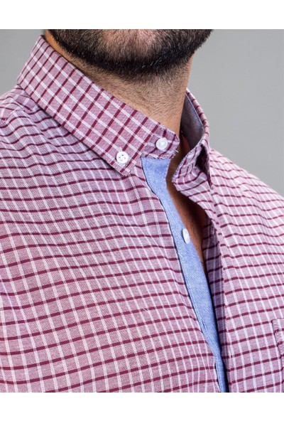 Tudors Klasik Fit Kısa Kol Bordo Çizgili Erkek Gömlek