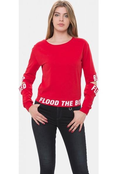 Cazador Kırmızı Kadın Bisiklet Yaka Sweatshirt