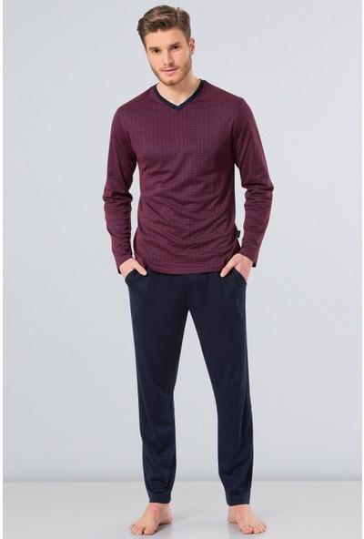Türen Erkek 4130 Empirme V Yaka Uzun Kol Pijama Takımı