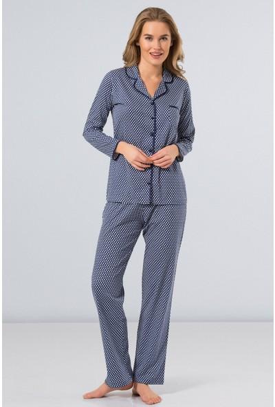 Türen Kadın 3234 Erkek Yaka Büyük Puanlı Pijama Takımı