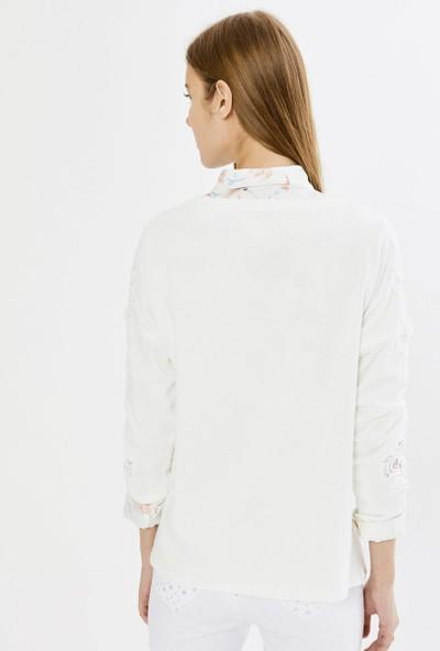 Xint Kadın Xint Yuvarlak Yaka Nakışlı Sweatshirt