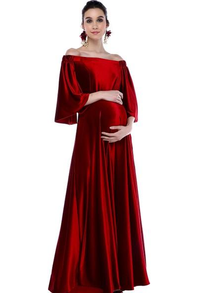 Moda Labio Düşük Omuz Kadife Kırmızı Hamile Elbisesi