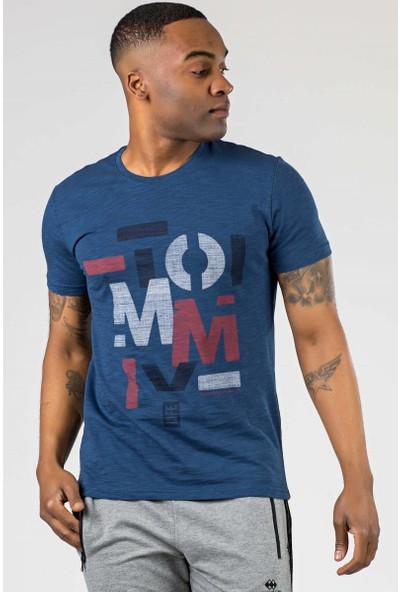 Tommy Life Flamlı Yazı Baskılı Indigo Erkek Tshirt
