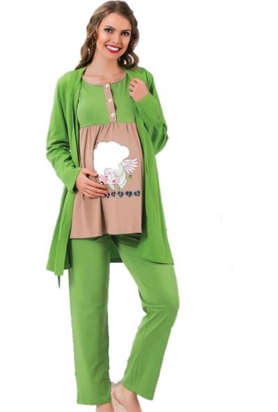 Polkan 13024 Kadın 3'Lü Hamile Pijama Takımı