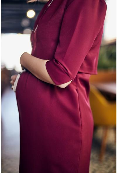 Mamma Lattes Hamile ve Emzirme Üstü Açılan Kaliteli Şık Ofis Elbisesi