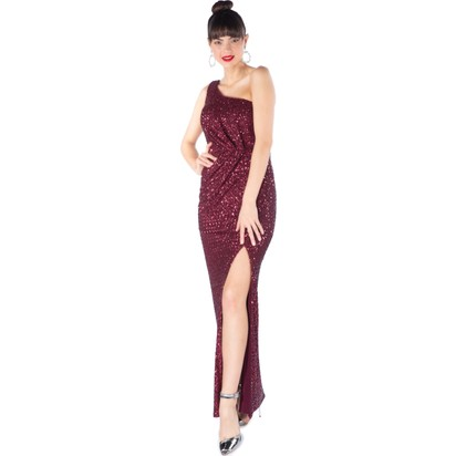 d597a7be8129b 6Ixty8Ight Bordo Payetli Desenli Tek Omuz Uzun Abiye Elbise Fiyatı