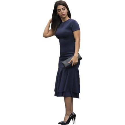 0e58b303c3481 Barevsu Scuba Kumaş Volanlı Kadın Abiye Elbise 635 Fiyatı