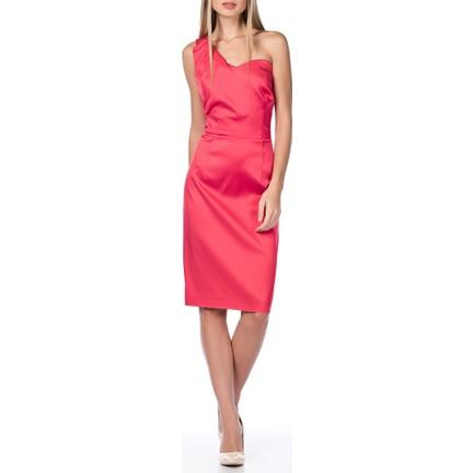 dec93e69a073b Roman Tek Omuz Detaylı Fuşya Trend Midi Mezuniyet Elbise Fiyatı