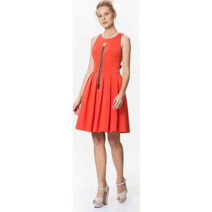 185643709456b Roman Sırt Detaylı Eteği Pileli Kolsuz Turuncu Midi Elbise Fiyatı